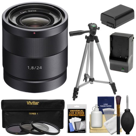 Sony Alpha E-Mount Carl Zeiss Sonnar T* 24mm f/1.8 ZA Lens with 3 Filters + Tripod + NP-FW50 Battery + Charger Kit for A7, A7R, A7S Mark II, A5100, A6000, A6300