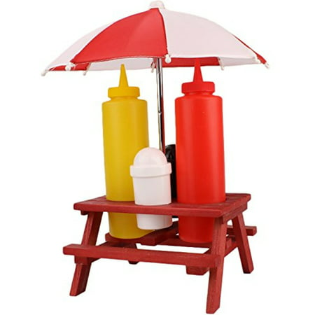 Wooden Picnic Table Condiment Holder Set Mini Umbrella Summertime - Condiment holder for table