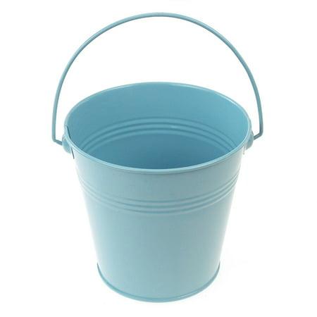 Metal Pail Buckets Party Favor, 5-inch, Light Blue