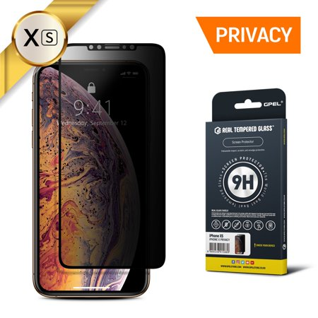 GPEL Privacy Screen Protector for iPhone Xs Premium Japanese Asahi Real Tempered Glass Privacy Anti Spy Case-Friendly Work with Most Case HD Clarity 9H Hardness 99% Touch (Dropped Phone And Touch Screen Wont Work)