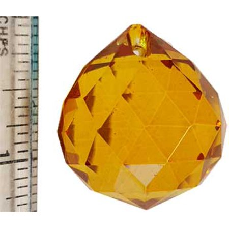 RBI Fortune Telling Toys Amber faceted Crystal Ball 30 mm Spiritual Supplies ()