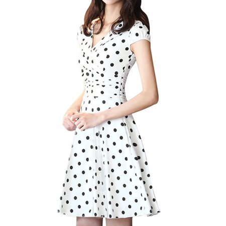 Unique Bargains Women's Crossover V Neck Cap Sleeve Shirred Side Lining Dotted Dress