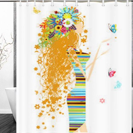BOSDECO Floral Woman Butterfly Your Beauty People Girl Flowers Drawing Shower Curtain 60x72 Inches - image 1 de 1