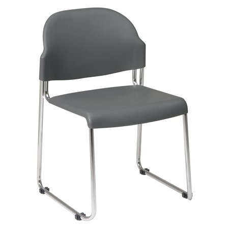 Gray Plastic Seat (Work Smart 4-Pack Stack Chair with Plastic Seat and Back,)