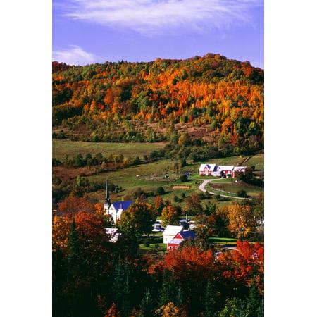 East Orange Village In Fall Vermont New England USA Canvas Art - Bilderbuch Design Pics (12 x 18)