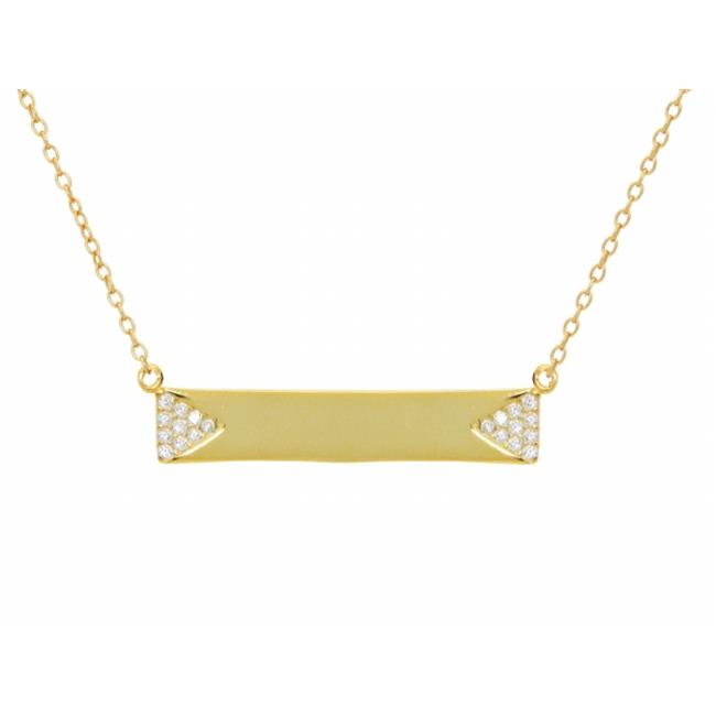 Silver Gold Plated Bar Engravable Pave Cubic Zirconia Side Triangles Necklace, 16 in. Plus 2 in. - image 1 of 1