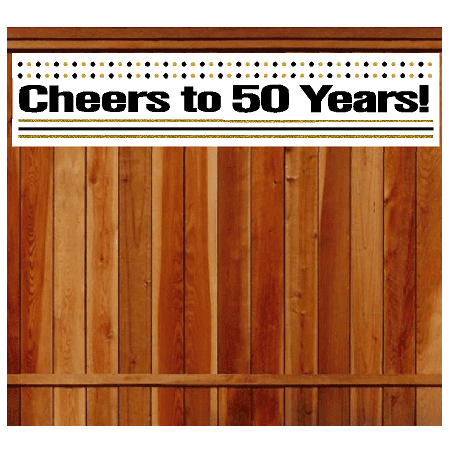 Item050CIB 50th Birthday Anniversary Cheers Wall Decoration Indoor OutDoor Party Banner 10 X 50inches