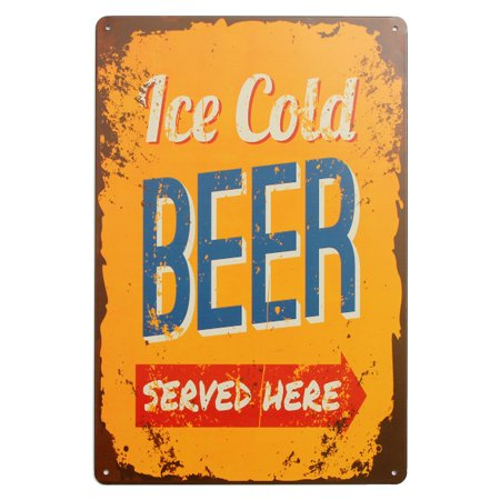 """30*20cm Tin Sign """"Ice Cold Beer"""" Metal Poster Wall Art Decor Rustic Plaque Bar Cafe House Home Decor - image 3 de 3"""