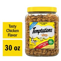 TEMPTATIONS Classic, Crunchy and Soft Cat Treats, Tasty Chicken Flavor, 30 oz. Tub (Various Sizes)
