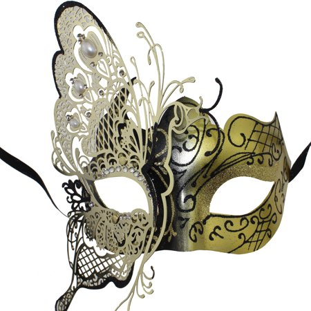 Coxeer Masquerade Mask Butterfly Laser Cut Metal Mardi Gras Mask Party Mask for Women - Silver Shamrock Halloween Mask