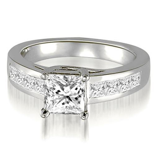"""1.25 cttw. 14K White Gold Trellis Princess Cut Diamond Engagement Ring (I1, H-I)"""