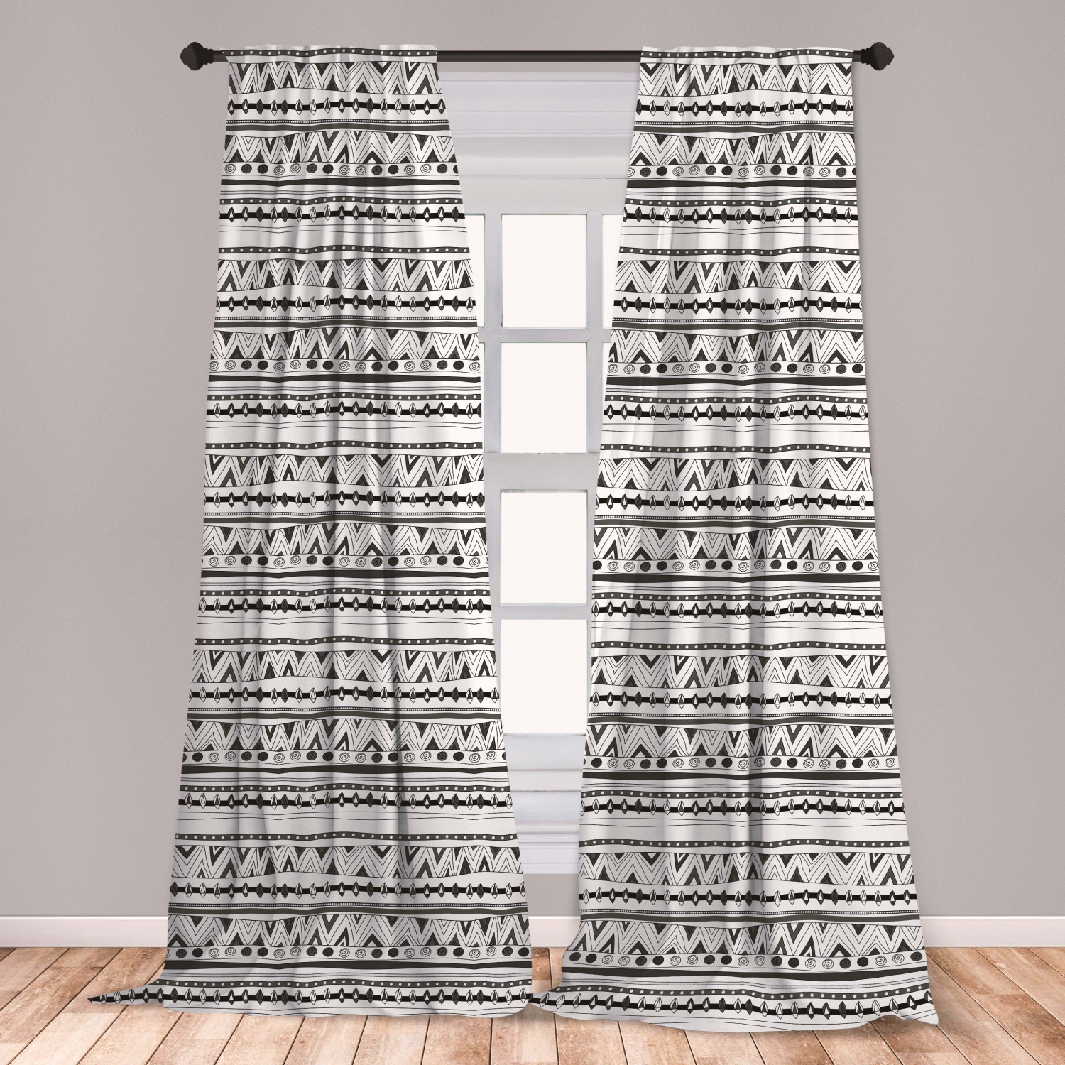 Tribal Curtains 2 Panels Set Primitive Aztec With Circles Triangles Tribal Folk Pattern Window Drapes For Living Room Bedroom Charcoal Grey White By Ambesonne Walmart Com Walmart Com
