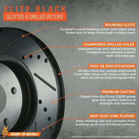 Max Brakes Front + Rear E-Coated Slotted Drilled Rotors Elite Brake Rotors SY015183 | Fits: 2006 06 Chevy Malibu Maxx w/ 296mm Dia Front Rotor & 270mm Dia Rear Rotor - image 2 de 5