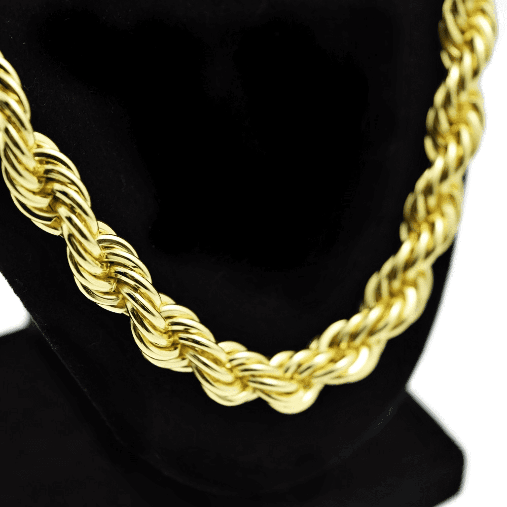 """Rope Chain 28"""" Inch  x 10 mm Gold Finish Iced Out Dookie Hip Hop Necklace"""