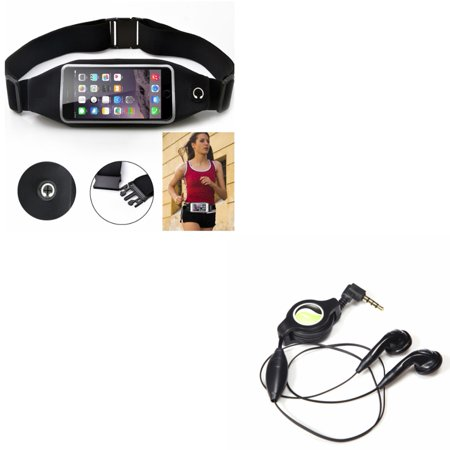 Black Sport Workout Belt Waist Bag Case w Retractable Headset Hands-free w Mic G8P for Huawei Vision 3 LTE, Google Nexus 6P, Ascend Mate 7 G7, 9, Honor 8, 20, 7X 6X, 10 - Kyocera Hydro