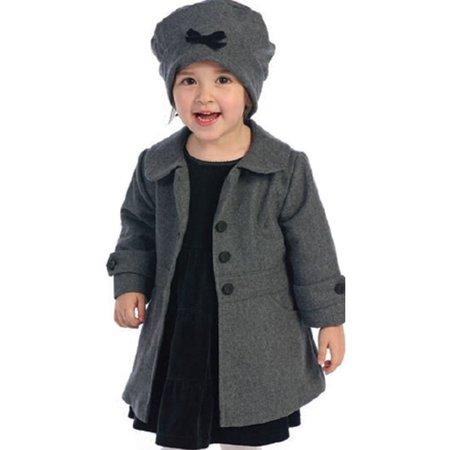 f51a602ea Angels Garment Toddler Girl Size 3T Grey Coat Hat Outerwear Set ...