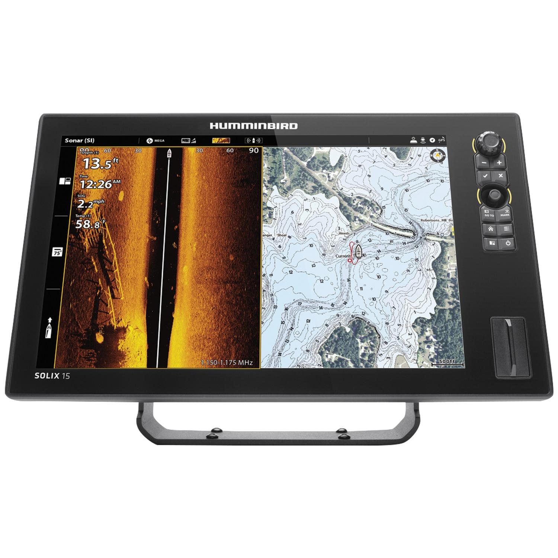 "Humminbird 411050-1 SOLIX 15 CHIRP Sonar G2 Combo Fishfinder/GPS/Chartplotter with MEGA Down & Side Imaging + & 15.4"" Display"