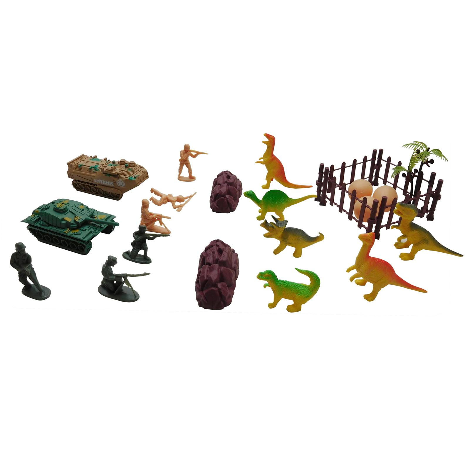21pc Battle Dinosaur vs Army Men Combat Action Figure Set by KidFun Products