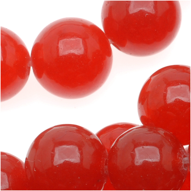 Cherry Red Candy Jade 8mm Round Beads (15 Inch Strand)