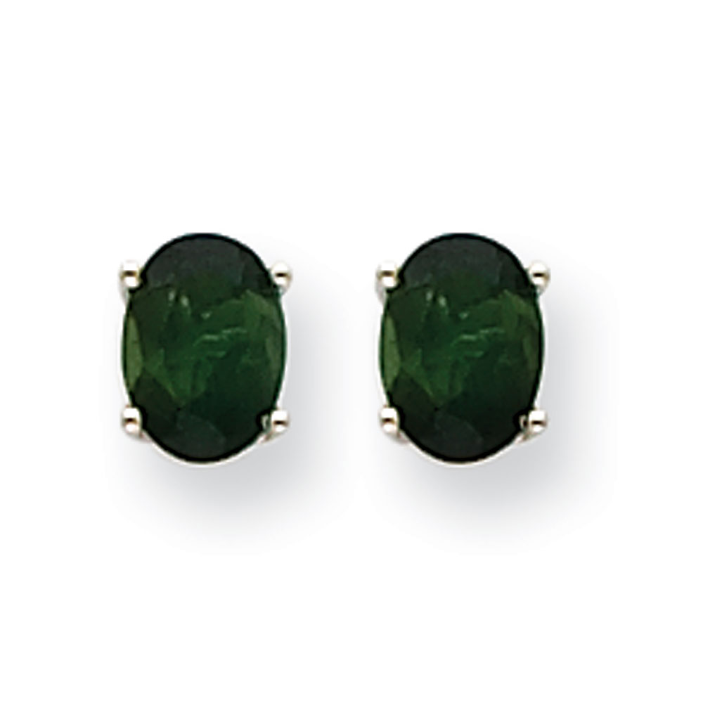 14k White Gold Green Tourmaline Earrings by Kevin Jewelers