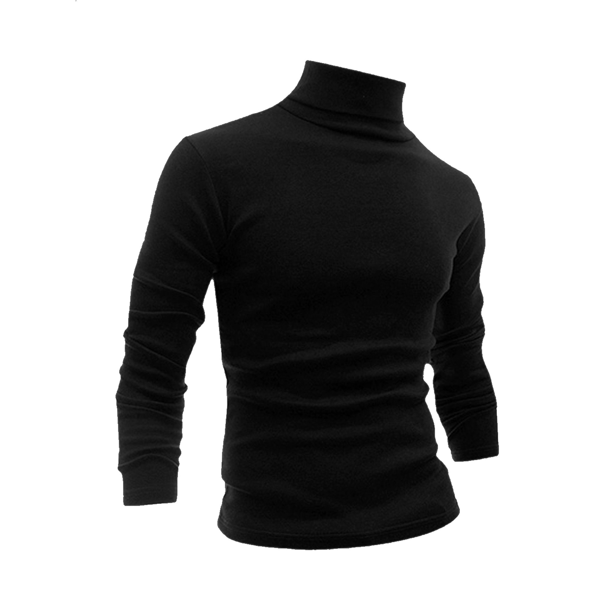 5373e3289 Man Long Sleeve Turtle Neck Slim Fit Casual T-shirt Black S ...