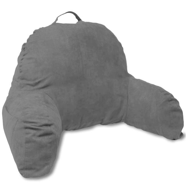 J-12-DarkGray Microsuede Bedrest Pillow - Best Bed Rest Pillows with Arms for Reading Bed, Dark Gray