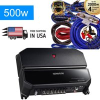 Kenwood KAC-5207 500W 2-Channel Class-AB 2-Ohm Stable bass Car Amp + 4g Blue Kit