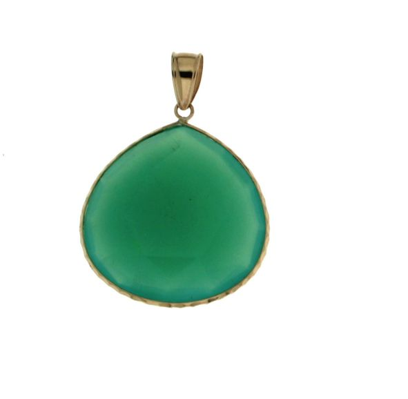 14KT Yellow Gold 22mm Chrysoprase Green Chalcedony Pear Shaped Pendant w  Chain by Jacmel
