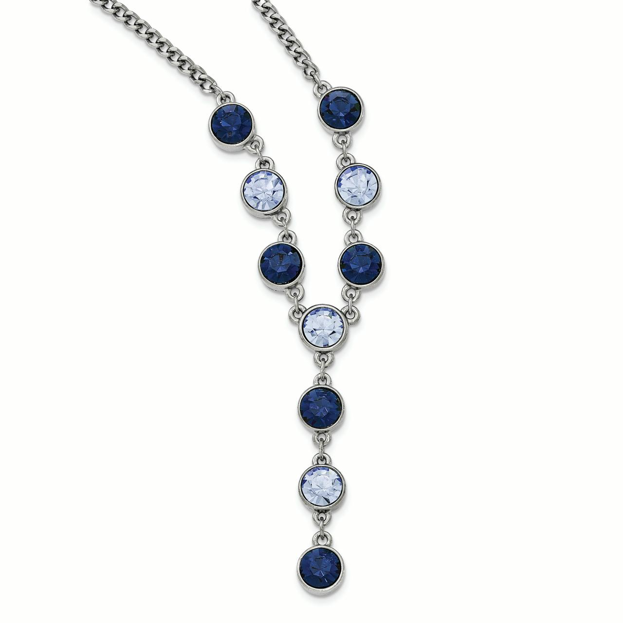 Roy Rose Jewelry 1928 Collection Silver-tone Light and Dark Blue Crystal Dangle w/3'' inch Extension Necklace