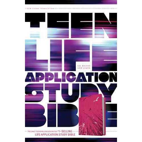 Teen Life Application Study Bible: New Living Translation, Pink Fields, LeatherLike