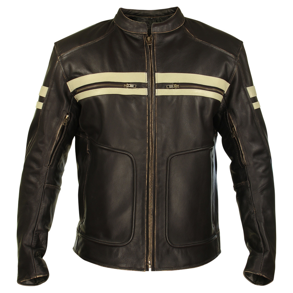 Xelement BXU165250 Mens Brown Leather Cruiser Jacket