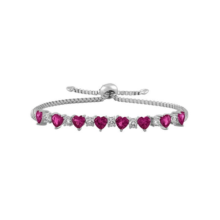 Ruby Bracelet Slide (Sterling Silver Plated Simulated Ruby with CZ Accents Adjustable Heart Bolo)