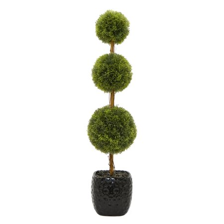 Three Hands Faux Topiary in Glossy Black Pot