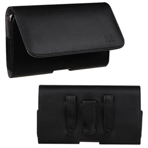 Insten Black/Gray Black Textured Horizontal Pouch Large Holster Clip Case (Size: 6.48 x 3.3 x 0.51 inch) for Smart Phone