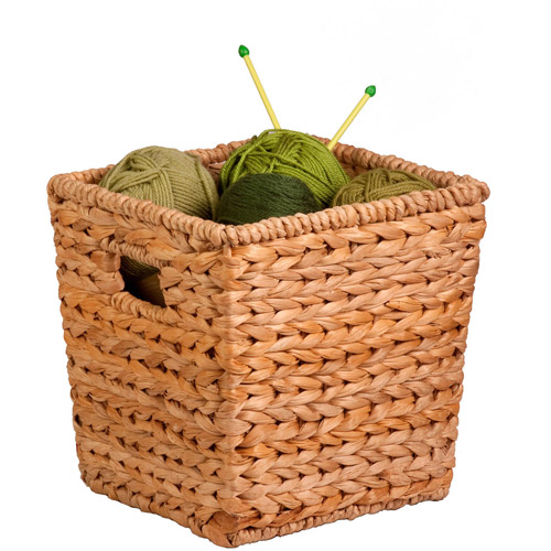 Honey Can Do Medium Square Water Hyacinth Basket with Iron Frame, Brown