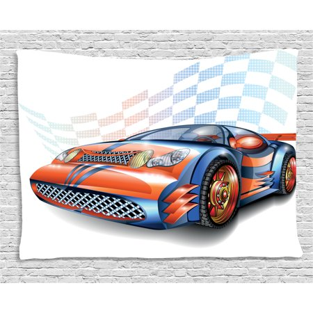 Cars Tapestry, Cartoon Style Speeding Racing Car Event Championship Racetrack Victory Drive, Wall Hanging for Bedroom Living Room Dorm Decor, 60W X 40L Inches, Orange Blue Black, by Ambesonne