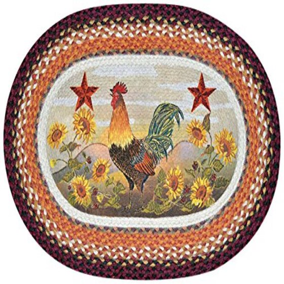 Earth Rugs 65-391MR Morning Rooster Oval Design Rug, 20 By
