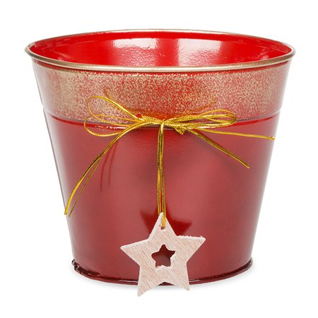 Round Holiday Metal Bucket with Star Ornament - Small - Holiday Bucket