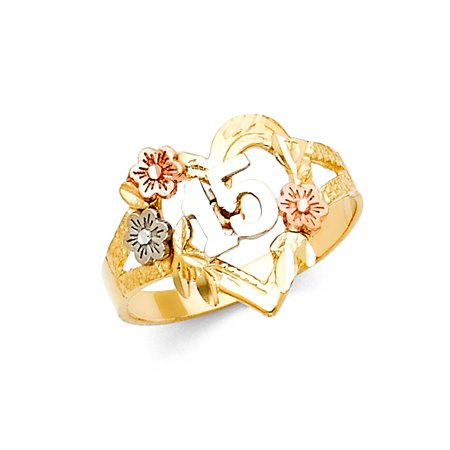 3 Stone Multi Colored Ring - 14k Tri Colored Tone Italian Gold 15mm Heart & Multi Flower Quinceanera 15 Anos Birthday Ring Size 9.5 Available All Sizes