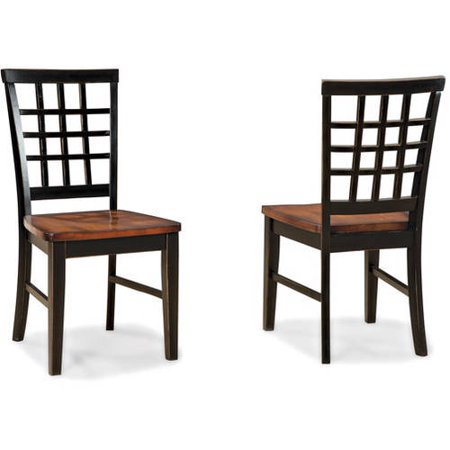 Imagio Home Arlington Lattice Back Dining Chairs Set of 2, Black and Java by
