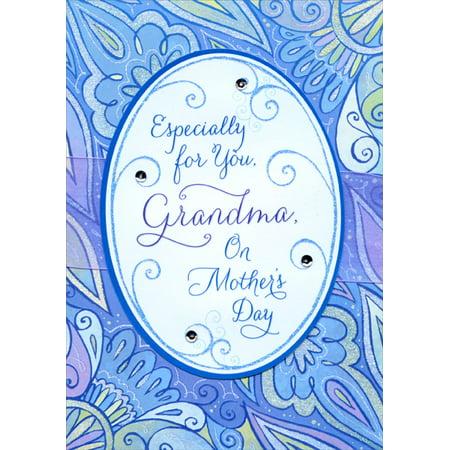 Designer Greetings Die Cut Oval with Purple Ribbon and Gems Handmade: Grandma Mother
