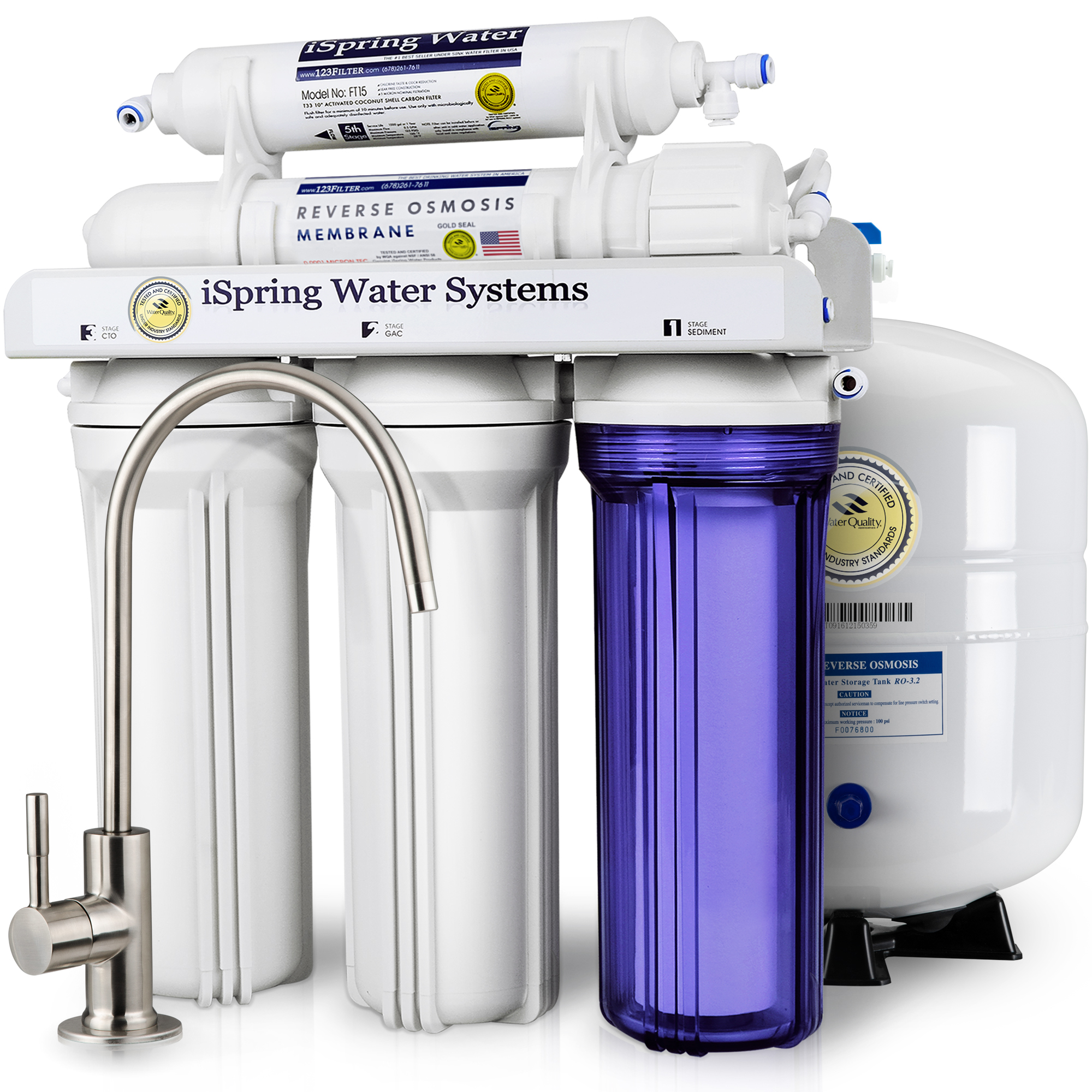 iSpring Reverse Osmosis Drinking Water Filter System - 75GPD WQA ...