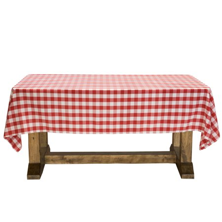 Lann's Linens - Red & White Checkered Tablecloth - Premium Polyester Picnic Table Cover - Gingham Cloth - Gingham Tablecloths