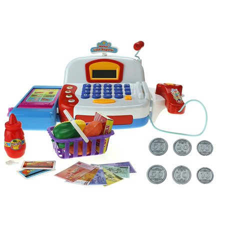 Special Toys Battery Operated Toy Cash Register W  Flashing Scanner  Working Mic  Knob Operated Belt  Credit Cards  Money  Basket  Food  Lights   Sounds
