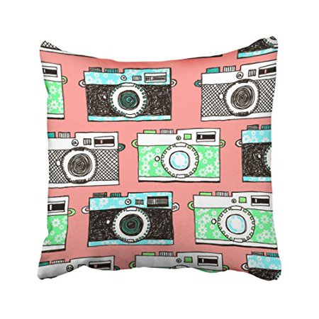 WinHome Green Black Gray Cameras Patterns Pink Pillow Cover With Hidden Zipper Decor Cushion Two Sides 20x20