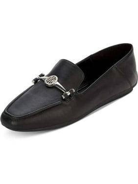 DKNY Womens Li Leather Square Toe, Black, Size 7.5