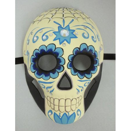 Halloween Face Painting Day Of The Dead (Day of the Dead Halloween Crystal Blue Full Face Mardi Gras Masquerade)