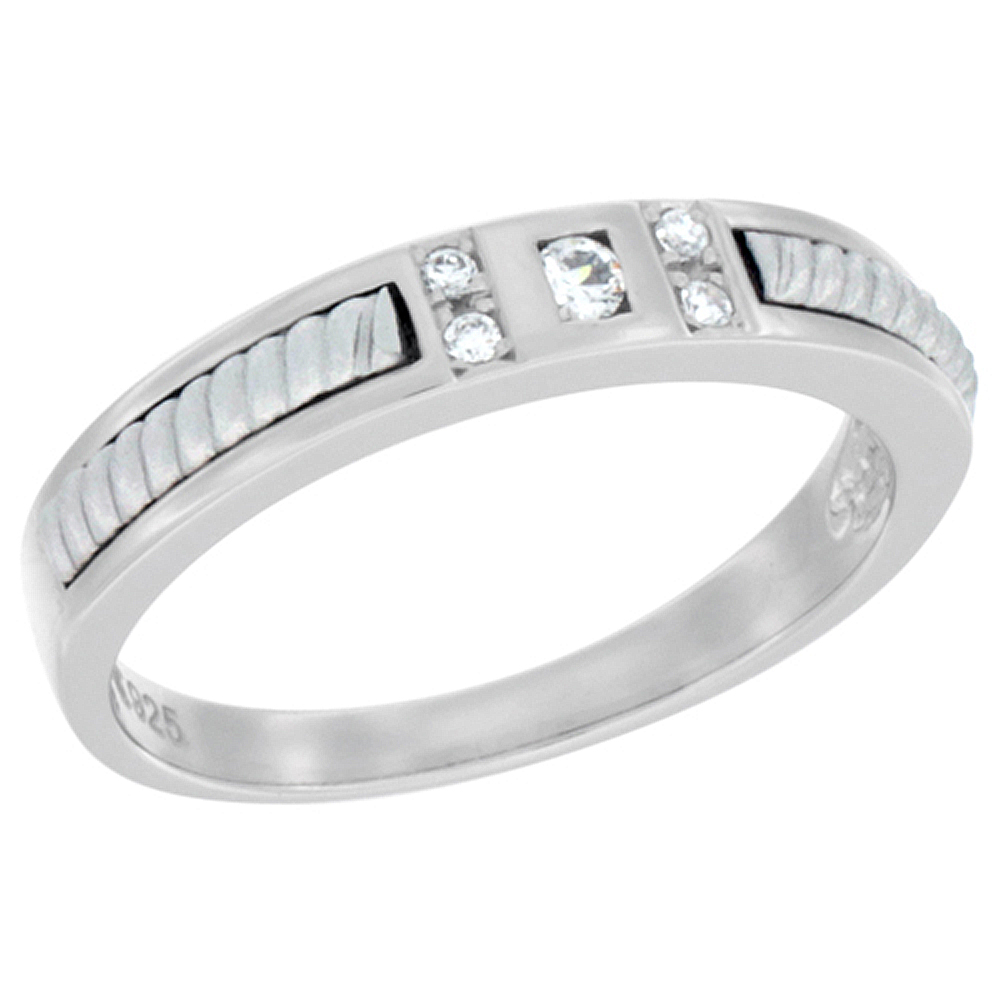 Sterling Silver Cubic Zirconia Ladies' Wedding Band Ring Rope Design, 1/16 inch wide, sizes 5 to 10
