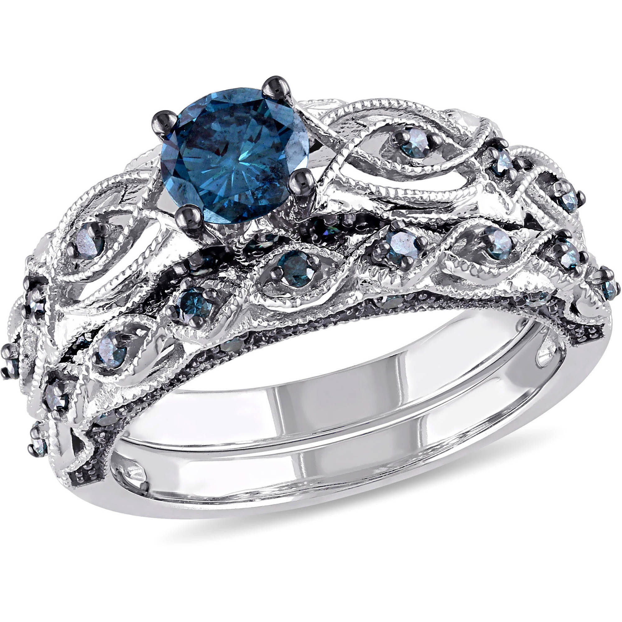 1 Carat T.W. Treated Blue Diamond 10kt White Gold Bridal Set