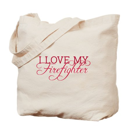 CafePress - I Love My Firefighter - Natural Canvas Tote Bag, Cloth Shopping Bag Fire Department Bag